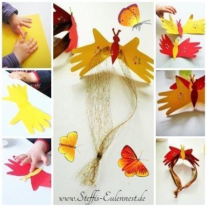 basteln mit kindern schmetterling butterfly kinder fingerabdruck finger printing kids. Black Bedroom Furniture Sets. Home Design Ideas