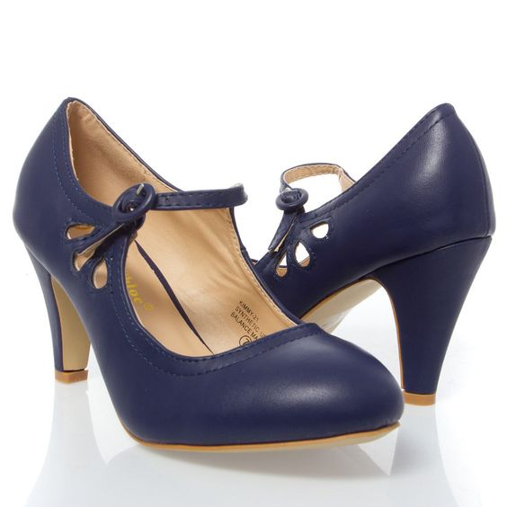 Details about Navy Blue Round Toe Cut Out Ankle Strap Mary Jane