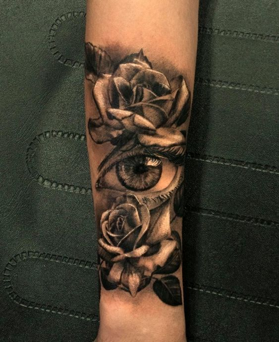 Realistic Eye And Rose Tattoo By Dionisis Limited Availability At