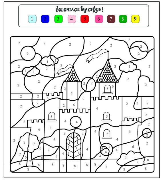 color by number castle worksheet July August Preschool