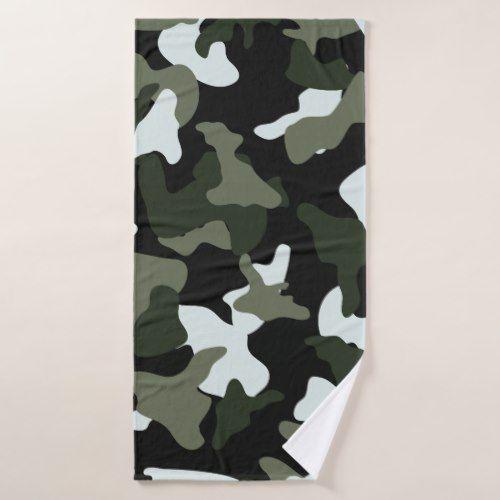 Green White Camo Camouflage Army Pattern Bath Towel Zazzle Com