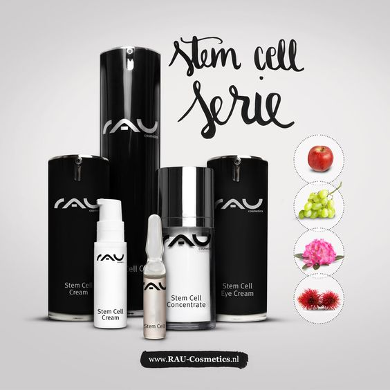 De hele Stem Cell Serie van RAU Cosmetics.  Stem Cell Cream met hoogwaardige stamcelexctracten, Stem Cell Eye Cream, Stem Cell Concentrate en Stem Cell Ampullen!