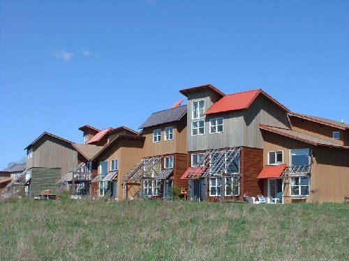 The EcoVillage at Ithaca New York makes extensive use of passive solar by orientation of the buildings. Copyright 2004, John Wilson
