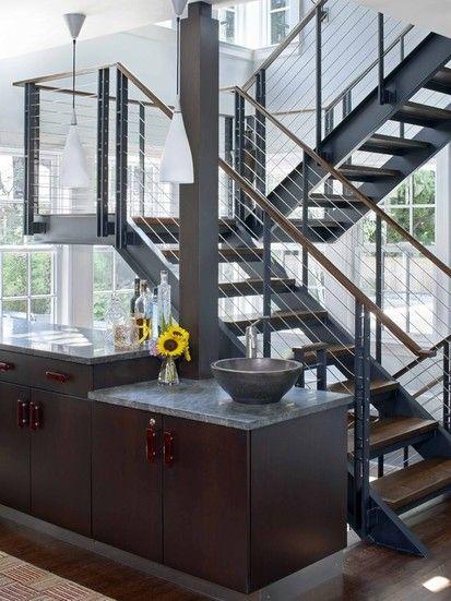 Outdoor Spindeltreppe Glas geländer modern Laurel Way Haus