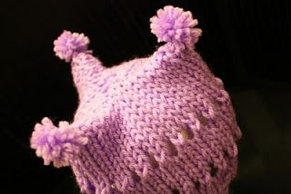 The Createry Shop: Baby Three Point Jester Hat With Purple Pom Poms - Free Kn...