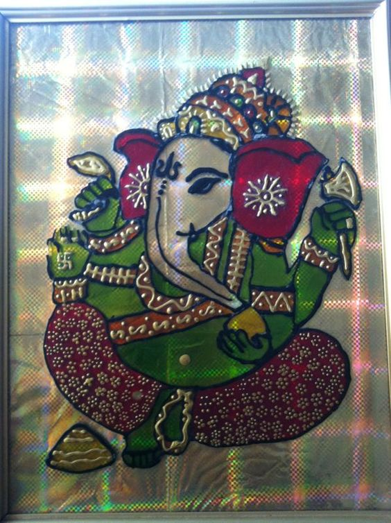 Sitting Ganesha Glass Painting