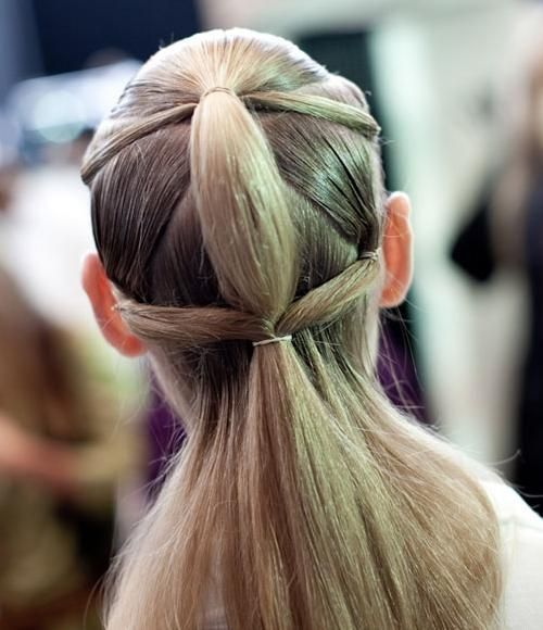 David Koma backstage, double ponytail reincarnated