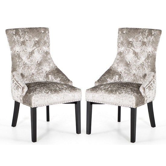 Acton Dining Chair In Crushed Velvet Silver In A Pair Dining