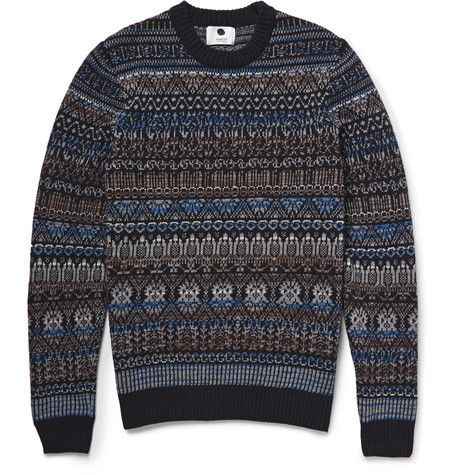 NN.07 Tony Fair Isle Wool-Blend Sweater   MR PORTER  Holy cow, this fair isle sweater looks like a cathedral. You bet your sweet ass I'd wear that.
