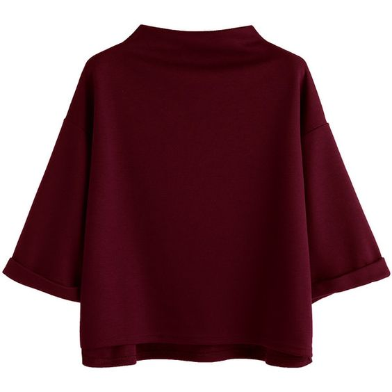 Mock Neck Drop Shoulder High Low Cuffed T-shirt ($9.99) ❤ liked on Polyvore featuring tops, t-shirts, burgundy, mock neck t shirt, mock neck top, three quarter sleeve t shirts, drop shoulder tee and 3/4 length sleeve t shirts