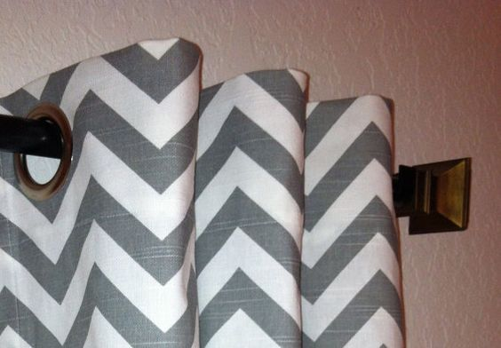 Chevron Curtains Custom Drapes Panels Ash Grey and White Slub Zig Zag Pair of 50 x 108 with Grommets