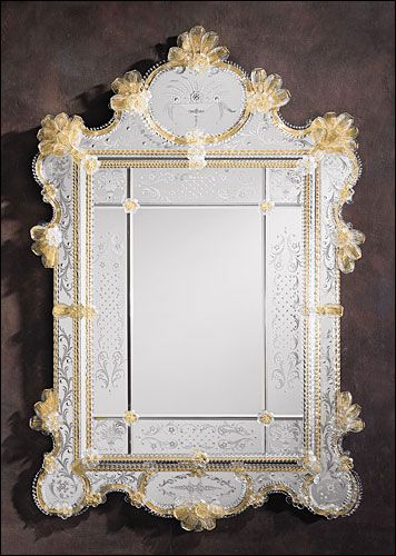 Venetian mirror framed in hand-etched glass with gold highlights, trimmed with glass ribbons and rosettes. Details on our website: DecorativeCrafts.com #DecorativeCrafts #VenetianGlass #VenetianGlassMirror #GlassMirror #Venetian #Glass #Mirror #Imported #Decor #InteriorDecor #Design #InteriorDesign #InteriorDesigner #RoomDesign #Furnishings #Elegant #Accent #Accessory: