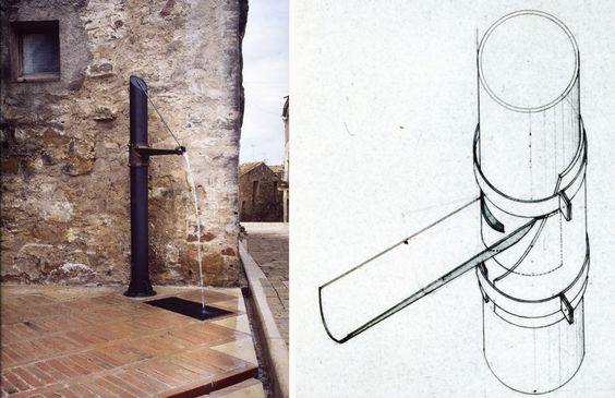 Detail of the development of the medieval town of Ullastret, Girona. 1982-85  A Fountain
