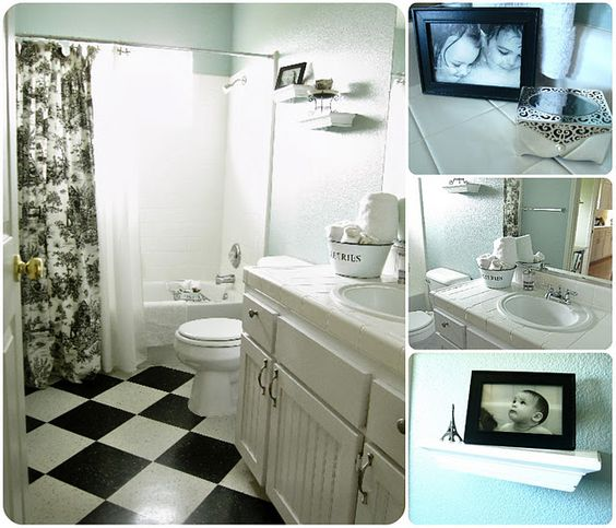 black and white tile floor and a toile shower curtain. | bathroom ...