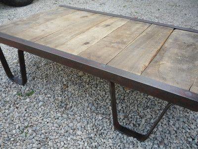 ebay table basse palette sncf industriel atelier loft - Table Atelier Loft