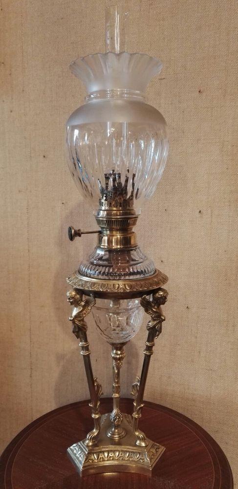 Magnifique Lampe A Petrole Xix Eme Cristal Baccarat Bronze 64 Cms
