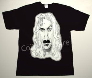 FRANK ZAPPA cartoon 1 CUSTOM ART UNIQUE T-SHIRT  Each T-shirt is individually hand-painted, a true and unique work of art indeed!  To order this, or design your own custom T-shirt, please contact us at info@collectorware.com, or visit  http://www.collectorware.com/tees-frankzappa_andrelated.htm