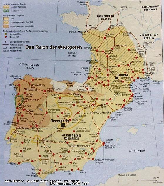 Galicia Map - Gallaecia - visigoths - iberian peninsula map before 600 A.D.