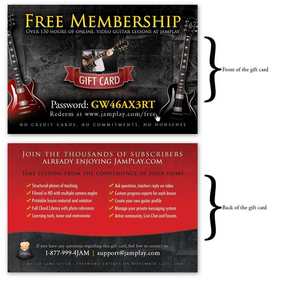 Check out this great learn to play the guitar website -   - free membership cards online