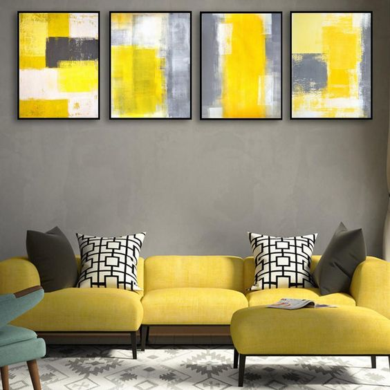 This abstract yellow and gray wall art set comes with four canvas prints. It is made out of canvas and does not come with a frame. Material: Canvas Medium: Waterproof Ink Frame: No
