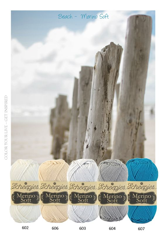 Kleurinspiratie Scheepjes Merino soft. Mooie tinten zacht garen. Grijs zand en blauw