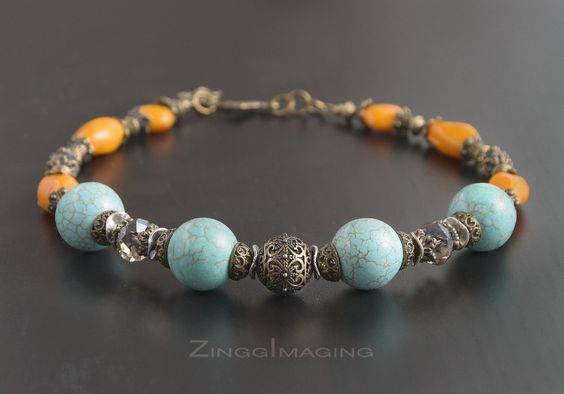 Chunky Antique Bronze Necklace - Light Blue Magnesite Gemstones, Orange India…