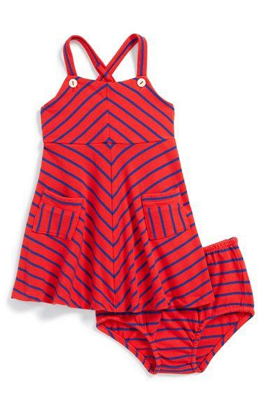 Chevron Stripe Cotton Dress & Bloomers (Baby Girls)