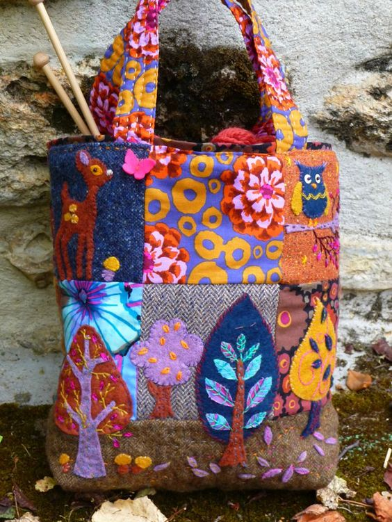 Tote bag...patchwork, wool applique, and embroidery!  Love it!                                                                                                                                                      Plus