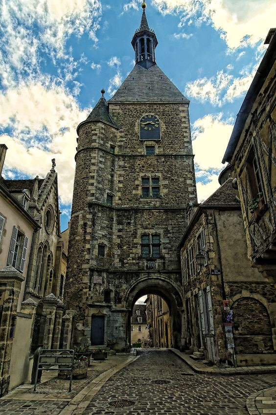 The clock tower, Avallon, Burgundy, France...I want to live here it's as if it's straight out of Hogwartz