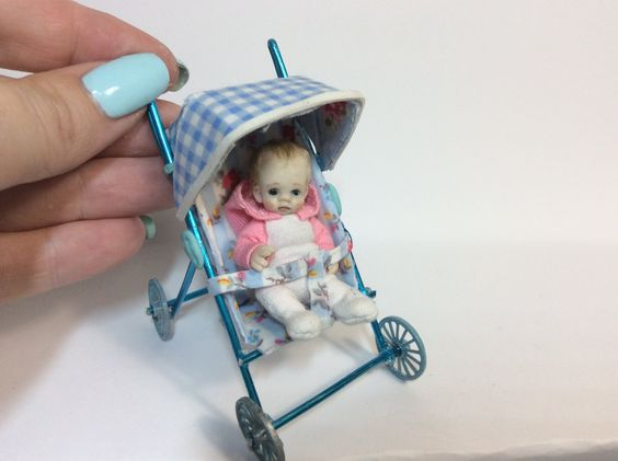 HOW TO MAKE Miniature Baby Stroller Pram Dollhouse Video DIY Tutorial
