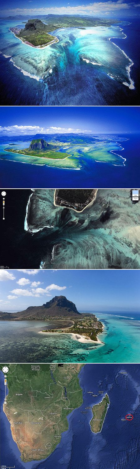 """Mauritius is basically an island nation in the Indian Ocean about 2,000km off the southeast coast of the African continent, and located at the Southwestern tip of the island you will find a fascinating illusion: """"when viewed from above, a runoff of sand and silt deposits creates the impression of an 'underwater waterfall'""""."""