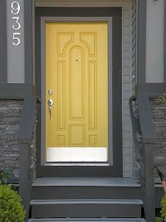 Another Gray House With Yellow Door Idea Exteriors