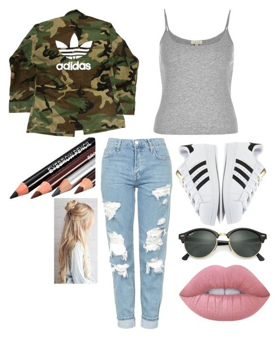 """""""Untitled #196"""" by vidanadiri ❤ liked on Polyvore featuring adidas, River Island, Topshop, Ray-Ban and Lime Crime"""