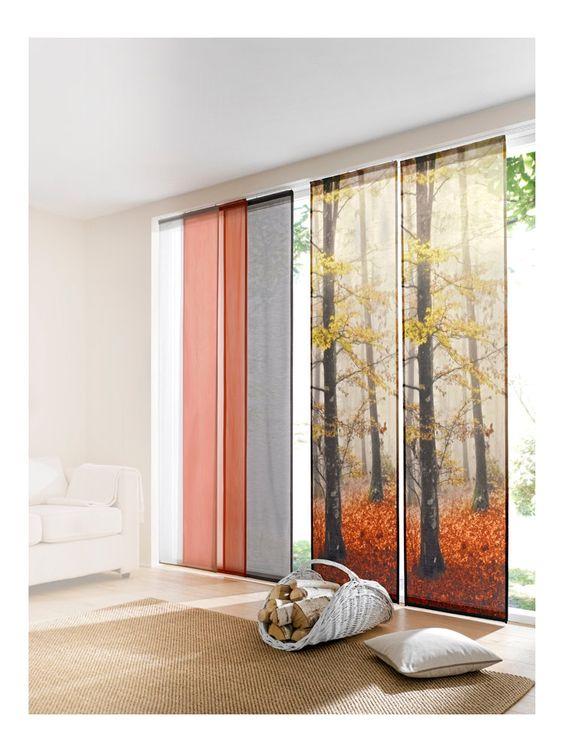 Panneaux coulissants motif for t rideaux voilages for Helline decoration rideaux