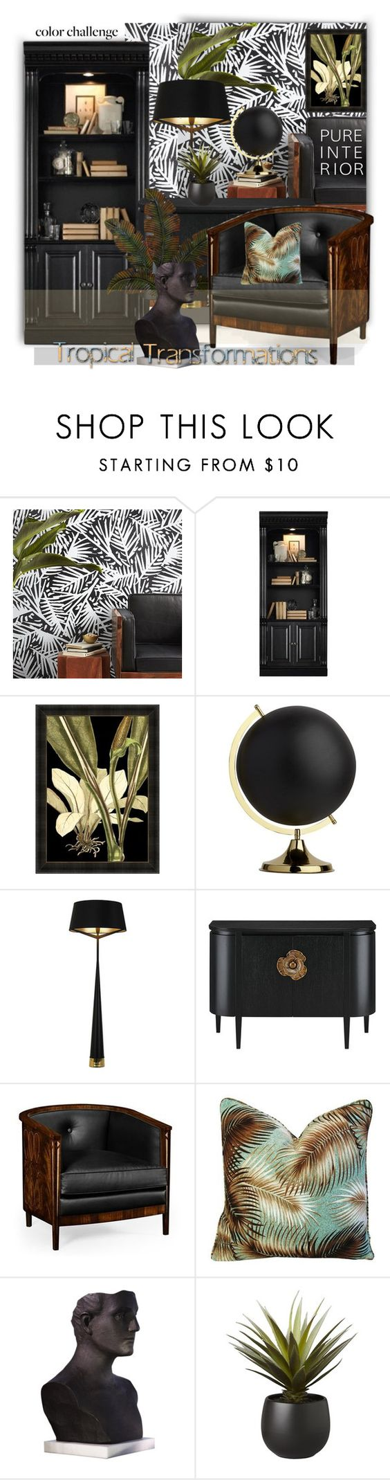 """""""Black Themed Tropical Interior Desigm"""" by esch103 ❤ liked on Polyvore featuring interior, interiors, interior design, home, home decor, interior decorating, CB2, Hooker Furniture, Jonathan Charles Fine Furniture and Global Views"""