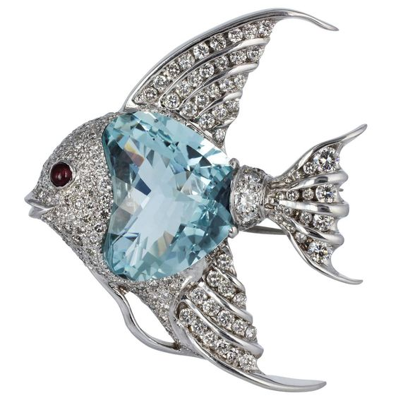 24 Carat Aquamarine Diamond Gold Angelfish Pin | From a unique collection of vintage brooches at https://www.1stdibs.com/jewelry/brooches/brooches/