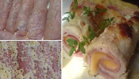 Einfache Hähnchenrouladen in einer Soße aus saurer Sahne, Knoblauch und trockenem Weißwein.