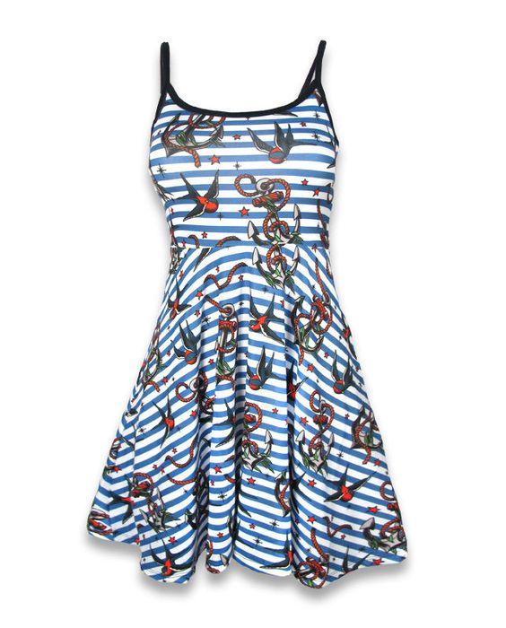 Liquor Brand Damen ANCHORS-BIRDS Kleid.Oldschool,Tattoo,Pin up,Custom Style