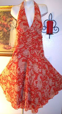 Phillip DeCaprio sexy paisley print ruched twirly date night dress 10