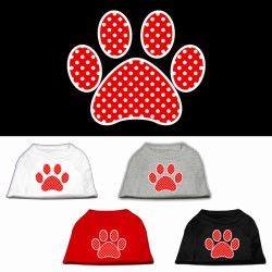 Red Swiss Dot Paw Screen Print Dog Tee Shirt