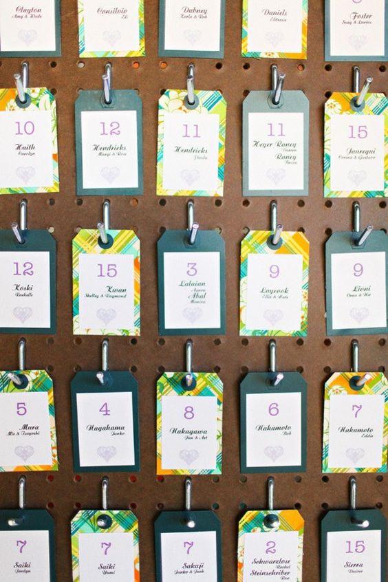 a little bit industrial, a little bit modern, a little bit DIY - love the idea of escort cards displayed on a peg board
