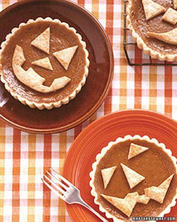 Miniature Pumpkin Pies with Jack O' Lantern Faces