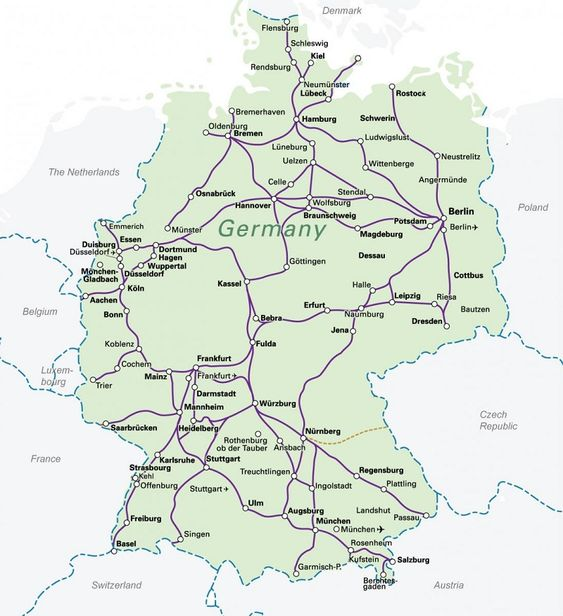 Train map germany and maps on pinterest for Berlin to dresden train