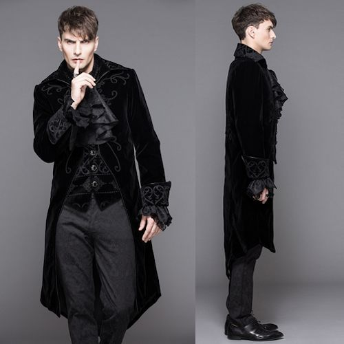 Men Black Embroidered Victorian Gothic Fashion Dress Trench Coats SKU-11401072: