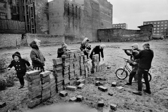 """Children playing """"Build the Wall"""" in West Berlin, 1962 - by Raymond Depardon"""