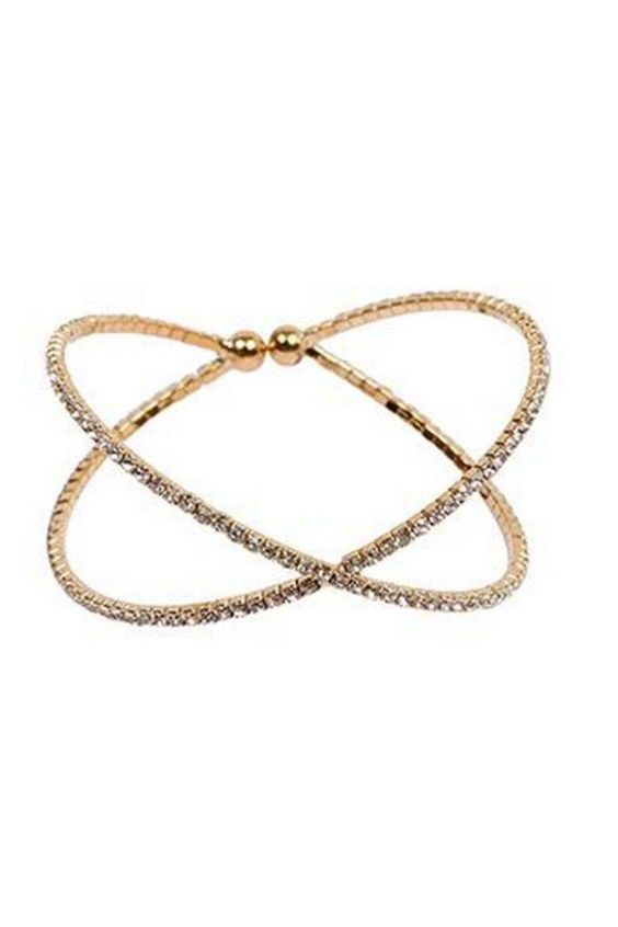 This gold colored mini rhinestone criss cross bracelet is the perfect edition to any outfit! Criss Cross Bracelet Accessories - Jewelry - Bracelets New York