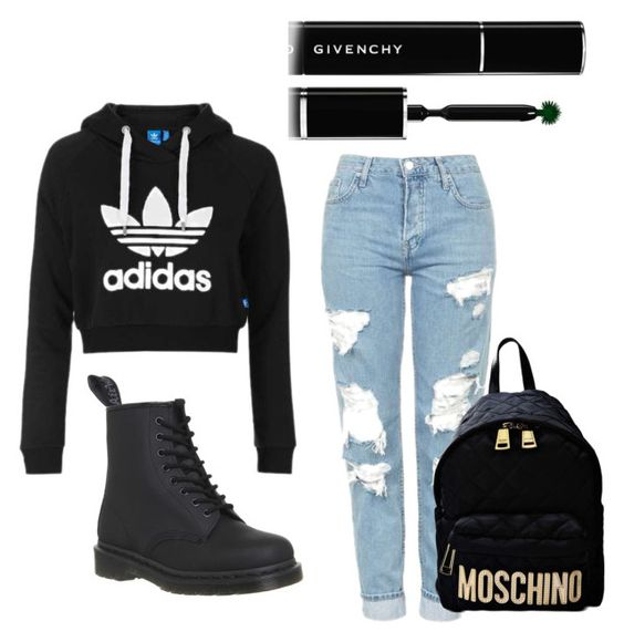 """""""😍😭🔑"""" by icyyyy on Polyvore featuring Dr. Martens, Topshop, Moschino and Givenchy"""