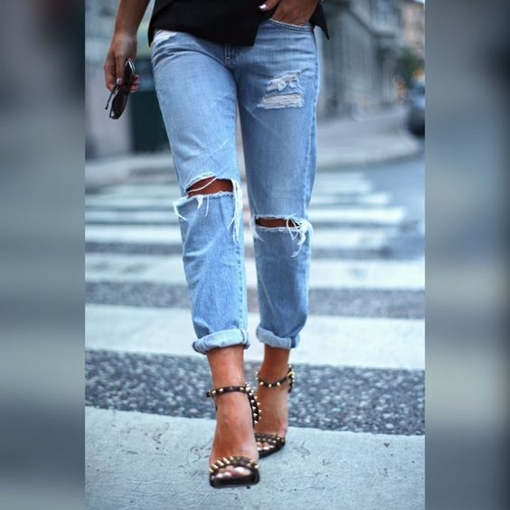 "Ripped Jeans Ripped ankle jeans; little strength, size 26"". Has 26"" inseam rolled down! Jeans Ankle & Cropped"