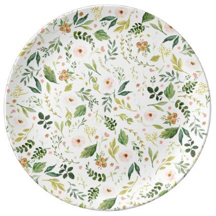 Botanical Spring Flowers Pink Plate In 2019 Pink Plates Spring
