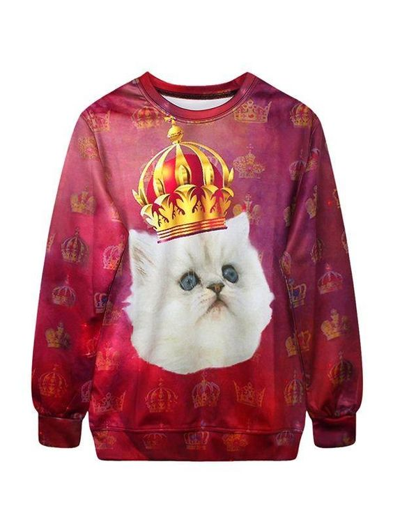 Cute Long Sleeve Cat with Crown Pattern 3D Painted Hoodie - beddinginn.com